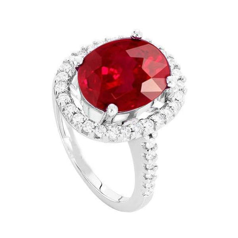 Solitaire With Accent 7.00 Ct. Ruby And Diamonds Ring White Gold 14K Gemstone Ring