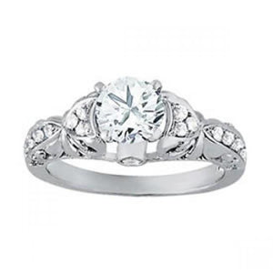 Solitaire With Accents 1 Cts. Round Diamonds Engagement Solitaire Ring Gold White Solitaire Ring with Accents