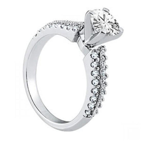 Solitaire With Accents 1.05 Ct. Diamonds Engagement Fancy Ring Prong Set Solitaire Ring with Accents