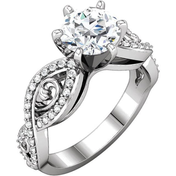 Solitaire With Accents 2.11 Carat Round Brilliant Diamonds Fancy Ring White Gold 14K Solitaire Ring with Accents
