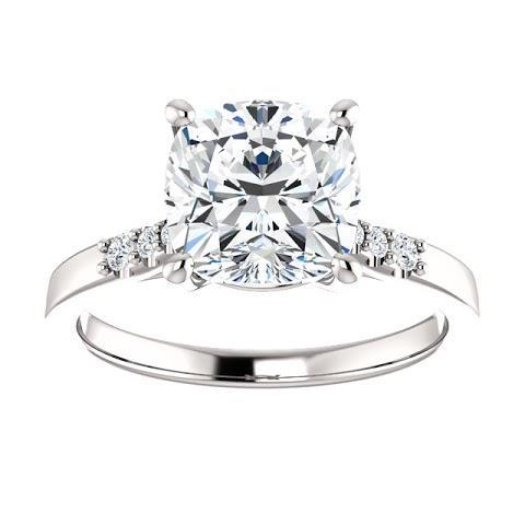 Solitaire With Accents Cushion Diamond Engagement Ring Solitaire Ring with Accents