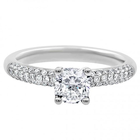 Solitaire With Accents Diamond Engagement Ring White Gold 14K Solitaire Ring with Accents