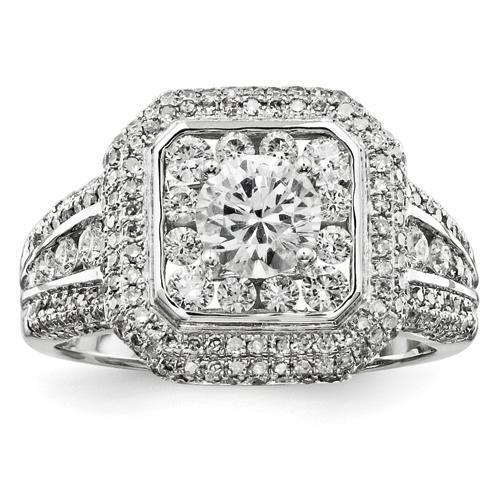 Solitaire With Accents Diamond Halo Ring 14K Gold White 2.5 Carats Halo Ring