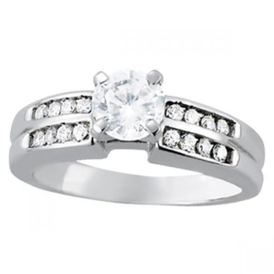 Solitaire With Accents Fancy Ring 1 Carats Round Diamonds White Gold 14K Solitaire Ring with Accents