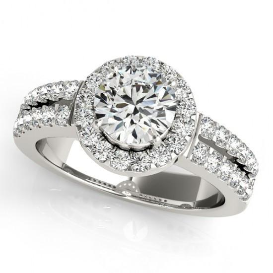 Solitaire With Accents Halo Ring 1.50 Carats Round Diamonds White Gold 14K Halo Ring