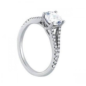 Solitaire With Accents Round Diamonds 1.50 Carats Solitaire Ring White Gold 14K Solitaire Ring with Accents