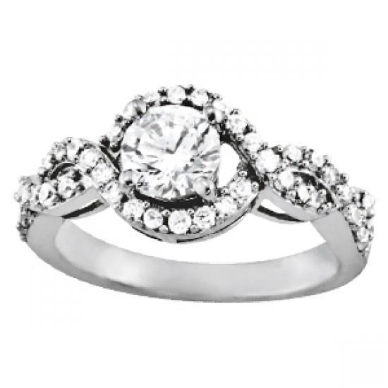 Solitaire With Accents Round Diamonds Ring 1.25 Carats White Gold 14K Solitaire Ring with Accents