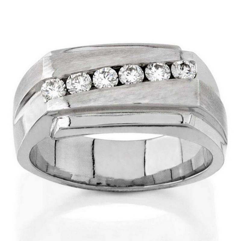 Sparkling 0.5 Carats Round Diamonds Men Ring White Gold 14K Ring