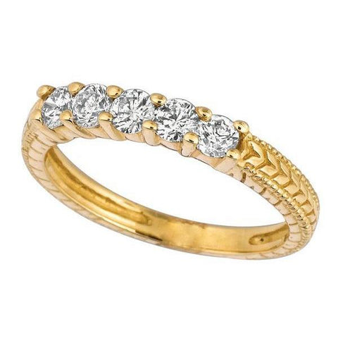 Sparkling 0.50 Carat Round Brilliant Diamond 5 Stones Eternity Ring Band Gold Yellow Half Eternity Band