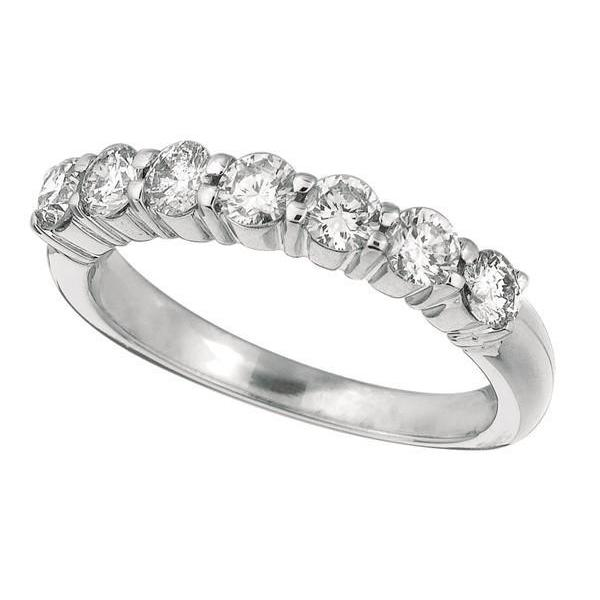 Sparkling 1 Carat Round Brilliant Diamond 7 Stones Eternity Ring Band Solid Gold 14K New Half Eternity Band