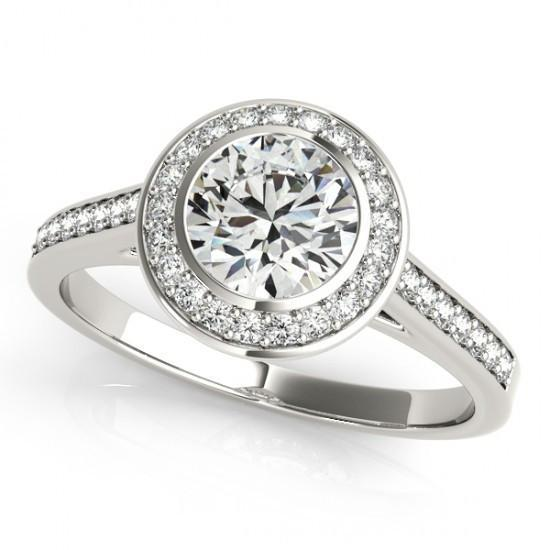 Sparkling 1.25 Carats Round Diamond Halo Ring Gold 14K Halo Ring