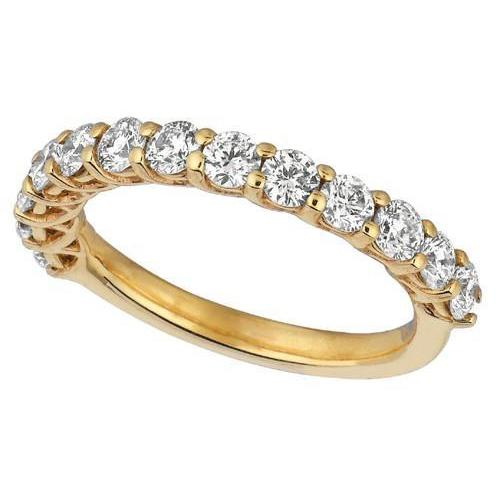 Sparkling 1.33 Carat Round Brilliant Diamond Eternity Ring Band Yellow Gold 14K Eternity Band