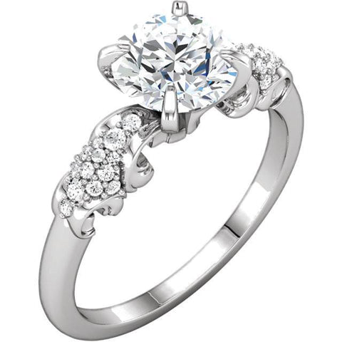 Sparkling 1.67 Carat Round Brilliant Diamonds Engagement Ring White Gold 14K Engagement Ring