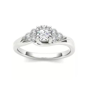 Sparkling 1.85 Carats Round Cut Diamonds Engagement Ring  White Gold Engagement Ring