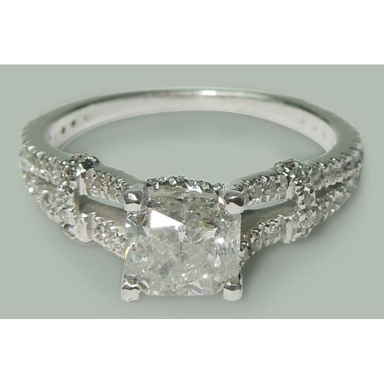Sparkling 1.90 Carat Cushion & Round Diamonds Engagement Ring White Gold 14K Engagement Ring