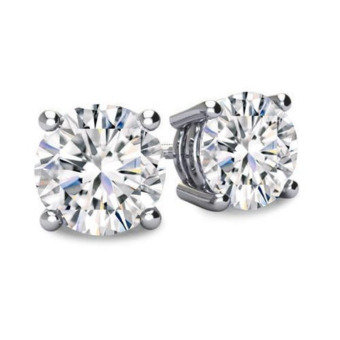 Sparkling 2 Carats Round Diamond Stud Earring White Gold 14K Stud Earrings