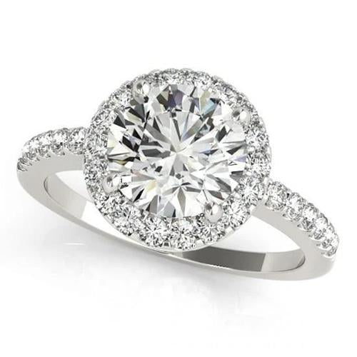 Sparkling 2.50 Carats Round Diamonds Engagement Fancy Ring White Gold 14K Halo Halo Ring
