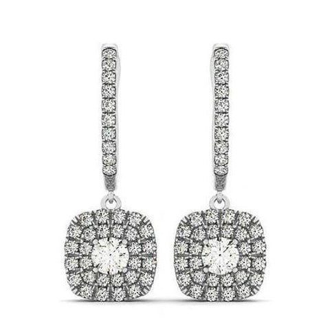 Sparkling 2.50 Carats Round Diamonds Halo Dangle Earrings White Gold 14K Dangle Earrings