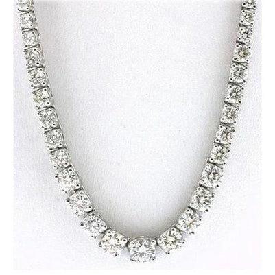 "Sparkling 25.00 Carats Diamonds Necklace Tennis Graduated Riviera 16"" 14K Gold Necklace"