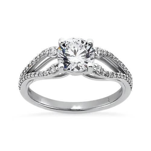 Sparkling 2.65 Carat Round Diamond Solitaire With Accents Ring White Gold 14K Solitaire Ring with Accents