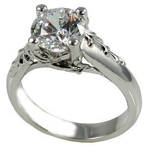 Sparkling 2.75 Carat Round Cut Diamond Antique Look Ring White Gold Engagement Ring