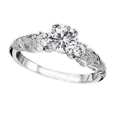 Sparkling 2.85 Ct 3 Stone Diamonds Antique Style Wedding Ring Gold Three Stone Ring