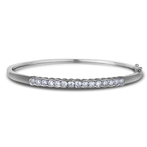 Sparkling 3 Ct Round Brilliant Cut Diamonds Ladies Bangle Bracelet White Gold 14K Bangle