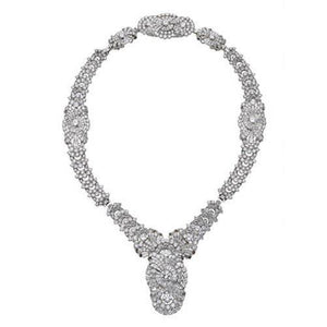 Sparkling 32 Carats Small Diamonds Ladies Necklace White Gold 14K Necklace