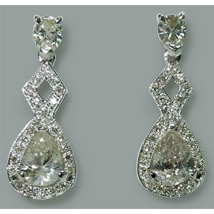 Sparkling 3.50 Carat Pear Diamond Dangle Drop Pair Earrings White Gold 14K New Dangle Earrings