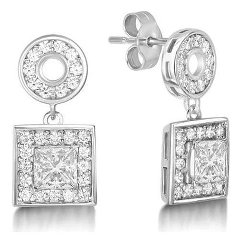 Sparkling 3.70 Carats Brilliant Cut Diamonds Dangle Earrings White Gold Dangle Earrings