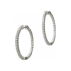 Sparkling 3.90 Carats Diamonds Lady Hoop Earrings Gold White 14K Hoop Earrings