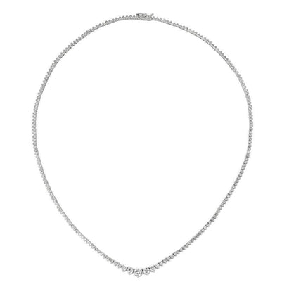 Sparkling 5.25 Carats Round Diamond Prong Setting Necklace Gold White Necklace