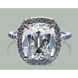 Sparkling 9.5 Ct Cushion Diamond Halo Engagement Ring Gold White Halo Ring