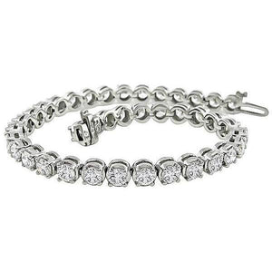 Sparkling Round Brilliant Cut Diamond Tennis Bracelet 10 Carats White Gold Tennis Bracelet