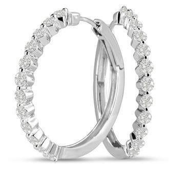 Sparkling Round Cut Diamond Hoop Ear Ring White Gold 14K 2 Carats Hoop Earrings