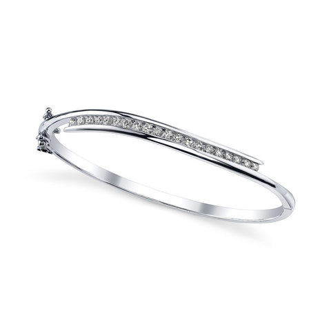 Sparkling Round Diamond Ladies Bangle Bracelet Solid White Gold 5 Ct Bangle