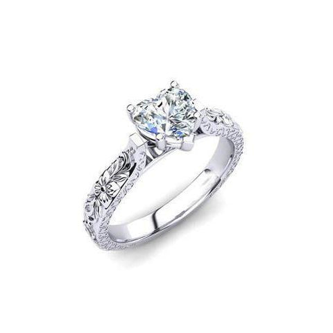 Sparkling Solitaire Heart Cut 2.25Ct Diamond Ring Solitaire Ring