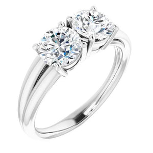 Split Shank Style Round Diamond Engagement Ring White Gold 14K Engagement Ring