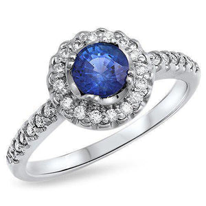 Sri Lanka Blue Sapphire And Diamond Ring White Gold 1.60 Ct Gemstone Ring