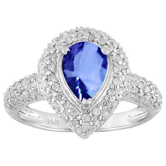 Sri Lanka Blue Sapphire Diamonds 4.40 Ct. Ring Solid White Gold 14K Jewelry Gemstone Ring