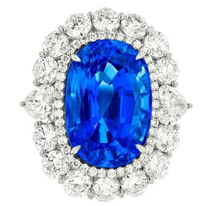 Sri Lanka Blue Sapphire Diamonds 8.25 Ct Ring Gold White 14K Gemstone Ring