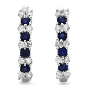 Sri Lankan Sapphire Diamond Ladies Hoop Earring White Gold 14K 6 Ct. Gemstone Earring