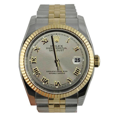 Ss & Gold Gray Roman Dial Datejust Men Watch Rolex Fluted Bezel Rolex