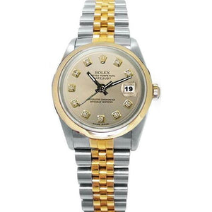 Ss & Gold Rolex Men'S Watch Datejust Silver Diamond Dial Rolex