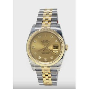 Stainless Steel & Gold Rolex Datejust Watch Champagne Quick Set Rolex