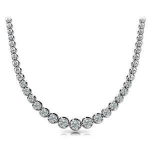 Strand Necklace 18 Carats Round Diamond  White Gold Sparkling Jewelry Necklace