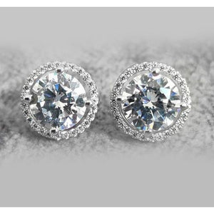 Stud Earrings Halo Round Diamonds 3.60 Carats 14K White Gold Halo Stud Earrings