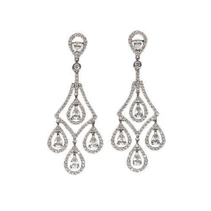 Teardrop Diamonds 5 Carat Chandelier Earrings Pair White Gold Pear Earring Chandelier Earring