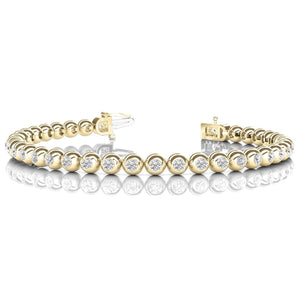 Tennis Bracelet 14K Yg Round Cut Bezel Set 7.20 Carats Diamonds Tennis Bracelet