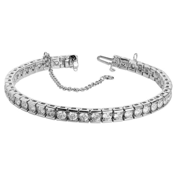 Tennis Bracelet 9 Ct. Diamond Tennis Bracelet Channel Set White Gold Tennis Bracelet